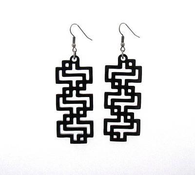 Perspex Jewelry Jewelry - Baronyka Black Geometric Earrings by Rony Bank