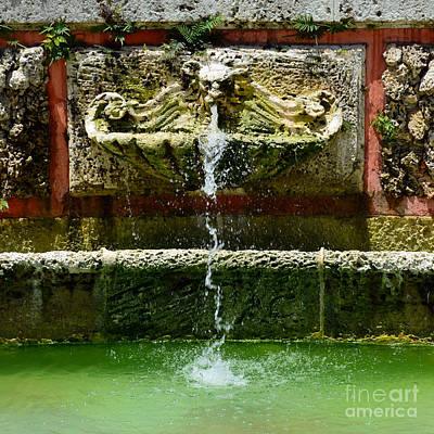 Photograph - Baroque Coral Fountain At Vizcaya Estate Museum In Coconut Grove Miami Florida Square Format by Shawn O'Brien
