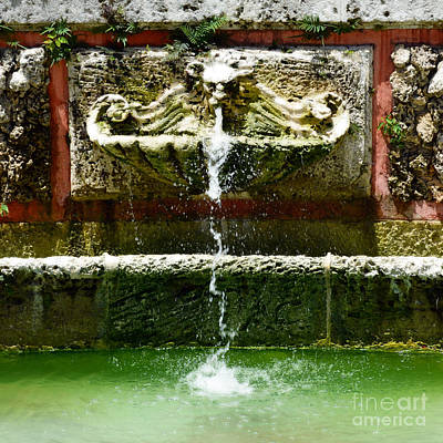 Mansion Digital Art - Baroque Coral Fountain At Vizcaya Estate Museum In Miami Florida Square Format Diffuse Glow Digital by Shawn O'Brien