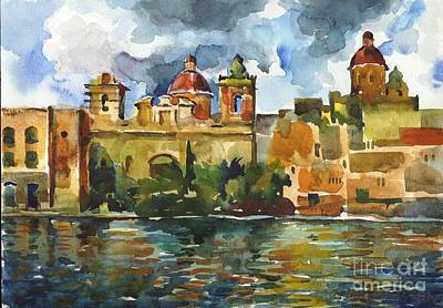Painting - Baroque Domes And Baroque Skies Of Vittoriosa In Malta by Anna Lobovikov-Katz