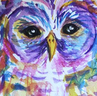 Painting - Barred Owl - Square Format by Ellen Levinson