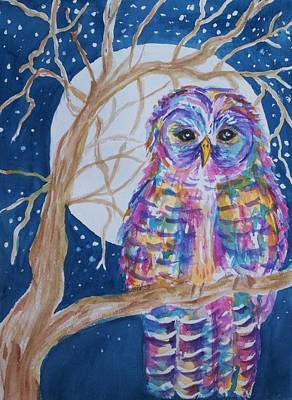 Painting - Barred Owl - Tie Dyed by Ellen Levinson