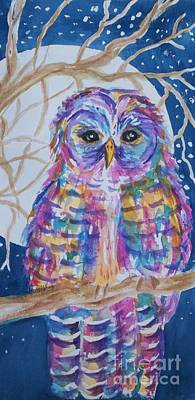 Visionary Art Painting - Barred Owl Tie Dyed II by Ellen Levinson