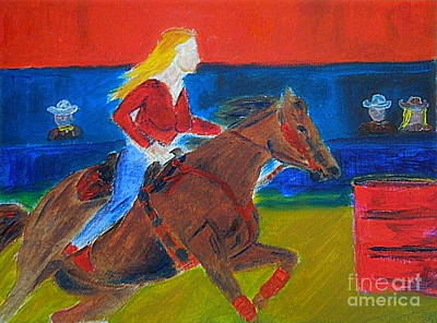 Painting - Barrel Racer Honoring Charmayne James 11 Times Wpra Champion by Richard W Linford