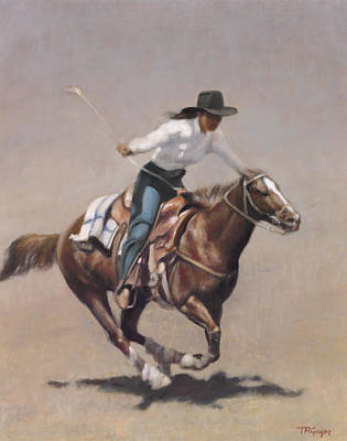 Wall Art - Painting - Barrel Racer Salinas Rodeo by Terry Guyer