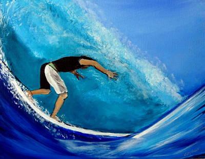 Painting - Barrel Surfer Ocean Wave by Katy Hawk