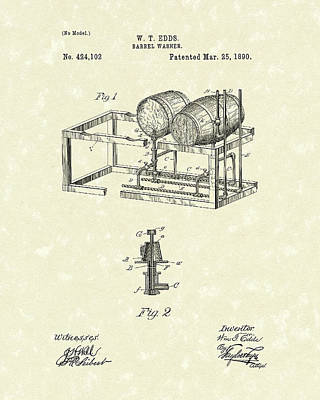 Drawing - Barrel Warmer 1890 Patent Art by Prior Art Design