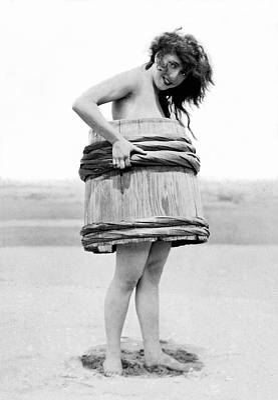 Barrel Woman Art Print by Underwood Archives