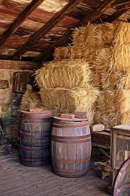 Barrels And Hay Art Print