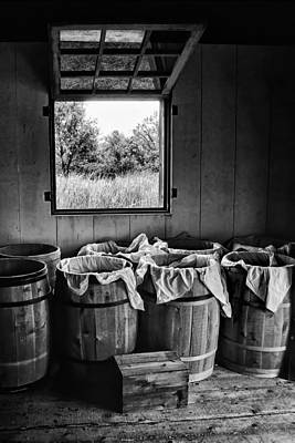 Photograph - Barrels Of Beans - Bw by Nikolyn McDonald