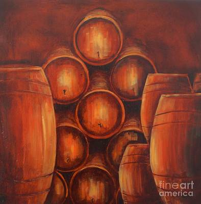 Wine Barrel Painting - Barrel's Of Wine  by Jodi Monahan