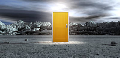 Barren Lanscape With Closed Yellow Door Art Print