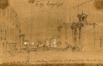 3.14 Drawing - Barricade At The R.r. Depot In Gettysburg, Constructed by Quint Lox