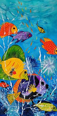 Art Print featuring the painting Barrier Reef Fish by Lyn Olsen