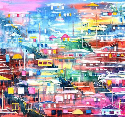 Aquarelle Painting - Barrio El Cerro De Yauco by Zaira Dzhaubaeva