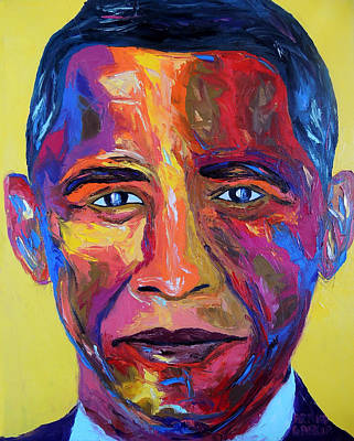 Barack Obama Oil Painting - Barry by Arturo Garcia