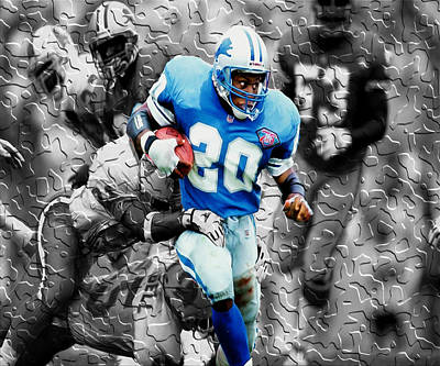 Barry Sanders Breaking Out Art Print by Brian Reaves