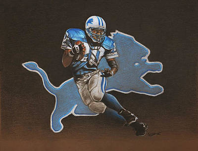 Detroit Lions Drawing - Barry Sanders by Jason VanderHoff