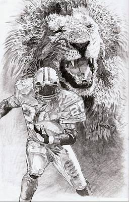 Detroit Lions Drawing - Barry Sanders by Jonathan Tooley