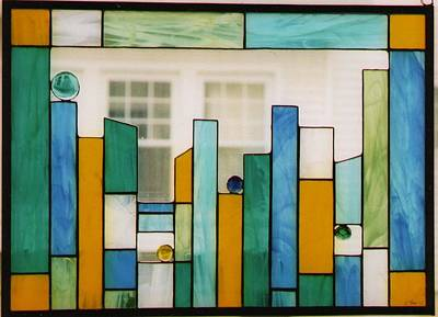Glass Art - Bars And Dots by KarinThue