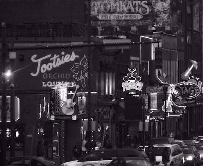 Streetlight Photograph - Bars On Broadway Nashville by Dan Sproul
