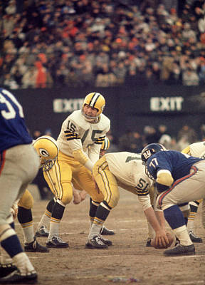 Football Photograph - Bart Starr Calls Out The Snap by Retro Images Archive