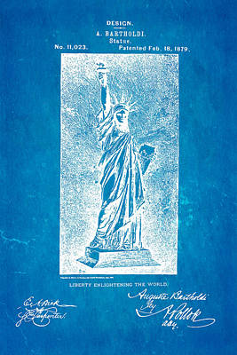 Statue Portrait Photograph - Bartholdi Statue Of Liberty Patent Art 1879 Blueprint by Ian Monk
