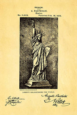Statue Portrait Photograph - Bartholdi Statue Of Liberty Patent Art 1879 by Ian Monk