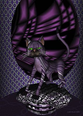 Digital Art - Bartollemew Cat Stretching  by Judi Suni Hall