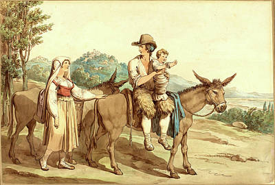Donkey Watercolor Drawing - Bartolomeo Pinelli, Italian 1781-1835, A Peasant Family by Litz Collection
