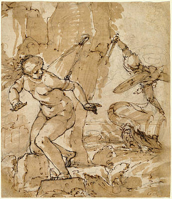 Wash Drawing - Bartolommeo Gagliardo, Perseus And Andromeda by Litz Collection