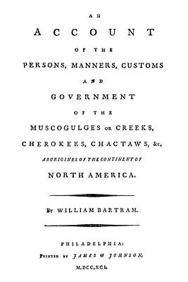 Choctaw Painting - Bartram Title Page, 1791 by Granger