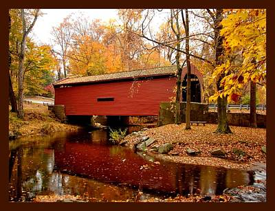 Funds Mixed Media - Bartram's Covered Bridge With Border by L Brown