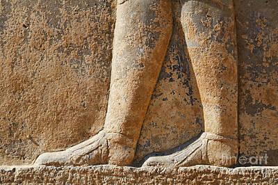 Ancient Persia Photograph - Bas Relief Carving At Persepolis In Iran by Robert Preston