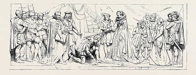 Drake Drawing - Bas-relief In The Princes Chamber House Of Lords Queen by English School