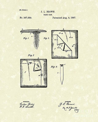 Drawing - Base Bag 1887 Patent Art by Prior Art Design
