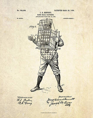Baseball Art Digital Art - 1904 Base Ball Catcher Patent Art by Gary Bodnar