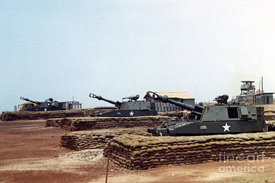 Photograph - Base Camp Artillery Guns Self-propelled Howitzer M109 Camp Enari Central Highlands Vietnam 1969 by California Views Archives Mr Pat Hathaway Archives