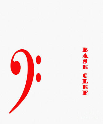 Second Base Digital Art - Base Clef - Music Symbol - Red by Barbara Griffin