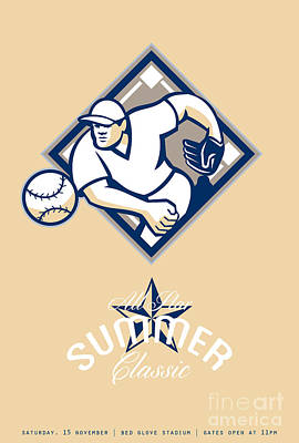 Pitching Digital Art - Baseball All Star Summer Classic Retro Poster by Aloysius Patrimonio