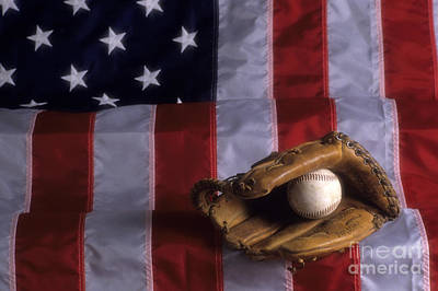 Baseball And American Flag Art Print