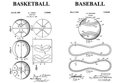 Baseball And Basketball Patent Drawing Art Print