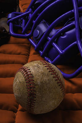 Baseball Close-up Photograph - Baseball And Catchers Mask by Garry Gay