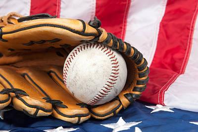 Baseball And Glove On American Flag Art Print by Joe Belanger
