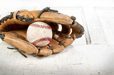 Baseball And Mitt Art Print by Jennifer Huls
