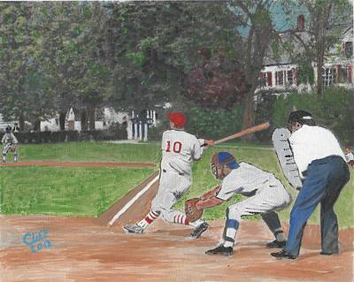 Little League Painting - Baseball At Stone Park by Cliff Wilson