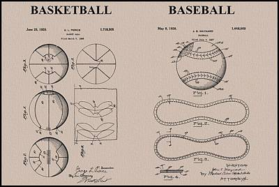 Baseball Basketball Patent Neutral Art Print by Dan Sproul