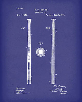 Bat Drawing - Baseball Bat 1885 Patent Art Blue by Prior Art Design