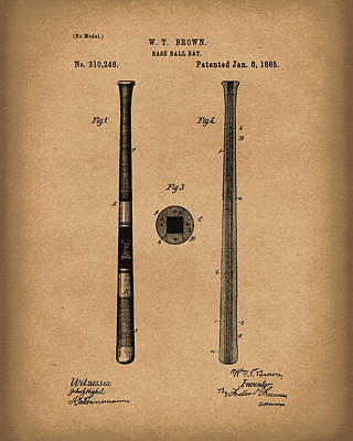 Bat Drawing - Baseball Bat 1885 Patent Art Brown by Prior Art Design