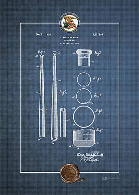 Digital Art - Baseball Bat By Lloyd Middlekauff - Vintage Patent Blueprint by Serge Averbukh